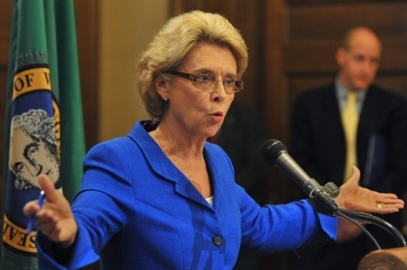 Washington Gov. Chris Gregoire addresses the media in Olympia last month.