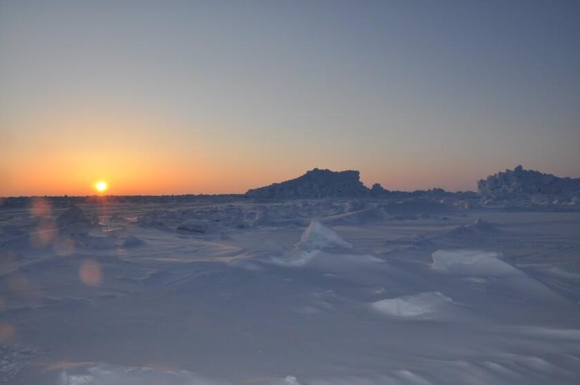 The sun sets over Barrow, Alaska