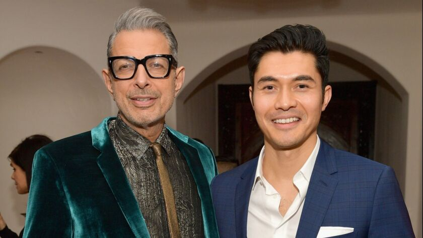 Jeff Goldblum, left, and Henry Golding at the 2018 GQ Men of the Year Party at a private residence in Beverly Hills on Dec. 6.
