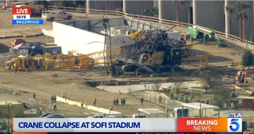 Crane collapses at SoFi Stadium project in Inglewood