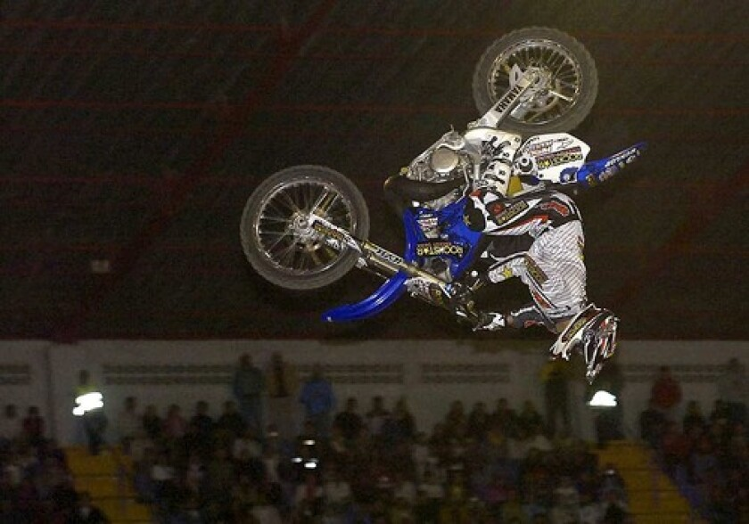 Jeremy Lusk controls his bike during the X Knights competition in San Jose, Costa Rica, on Saturday. He died Tuesday after slamming headfirst into the ground during the competition.