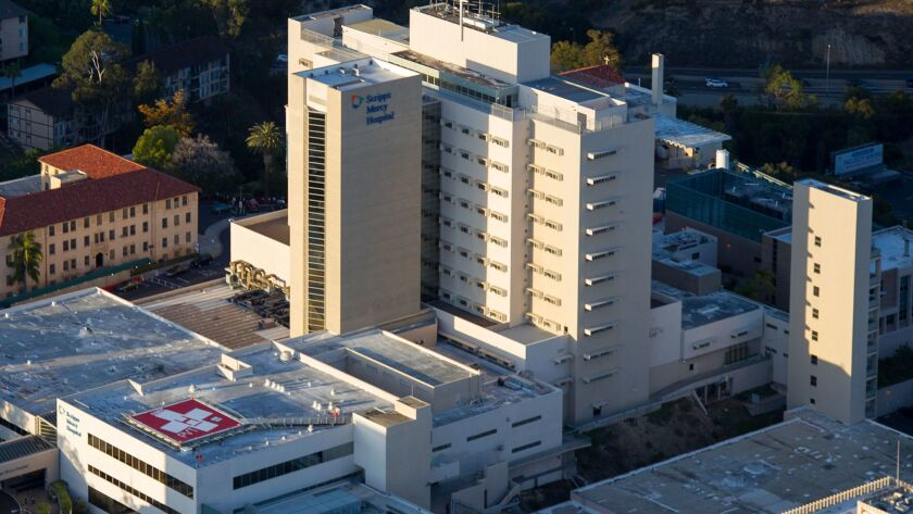 Aerial view of Scripps Mercy Hospital in Hillcrest.