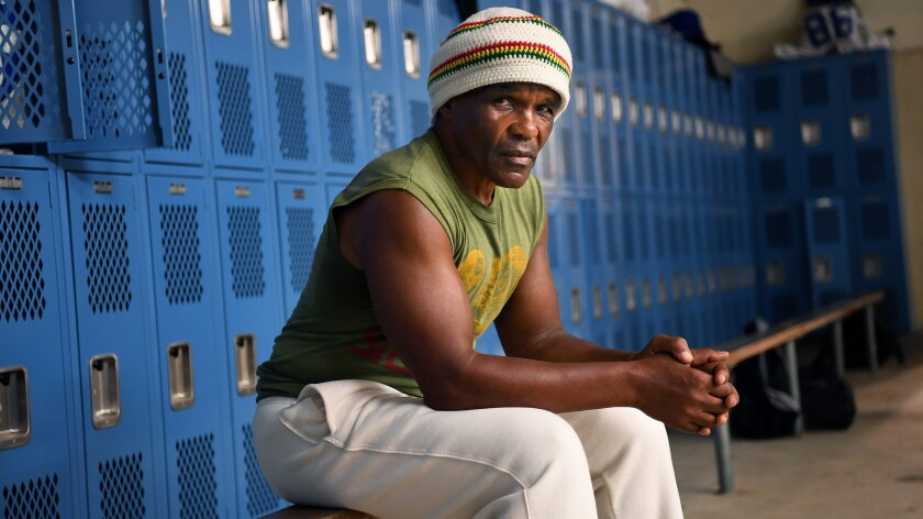 Hardy Williams sits in a Los Angeles High locker room.