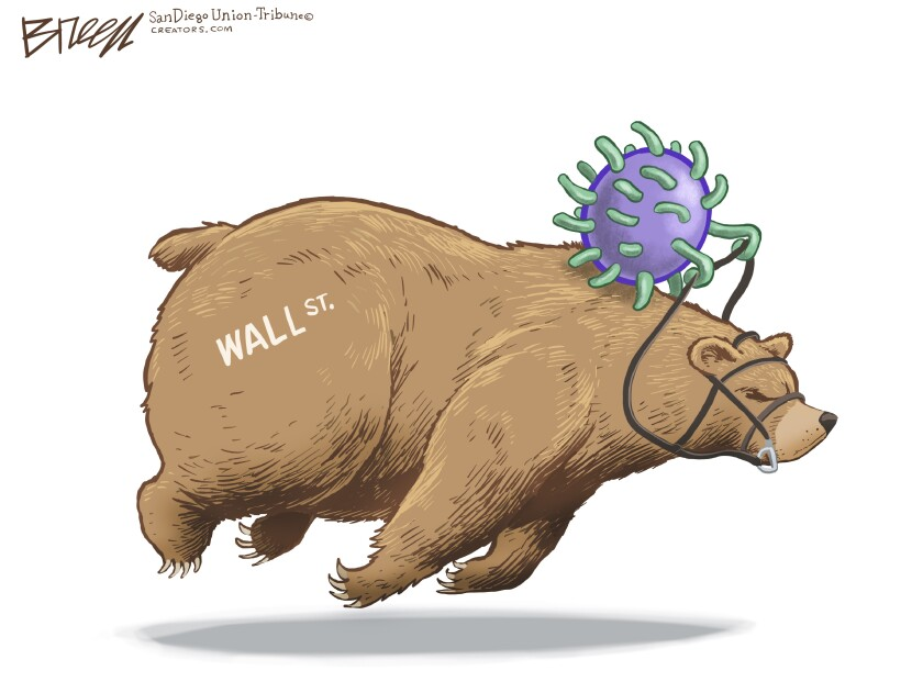 In this Breen cartoon, a coronavirus rides a Wall Street bear