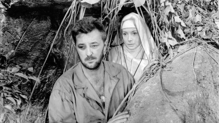 "Robert Mitchum and Deborah Kerr in ""Heaven Knows, Mr. Allison."""
