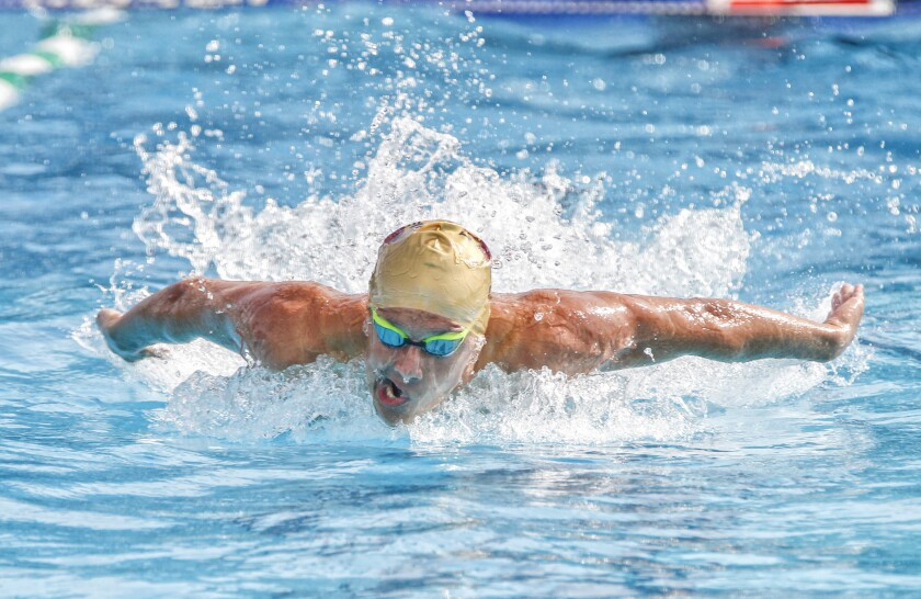 Torrey Pines' Stephan Lukashev qualified first (50.14) in the 100-yard butterfly heading into Saturday's finals.