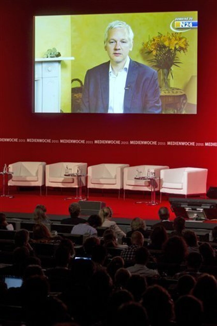 Julian Assange founder of the whistleblower internet platform WikiLeaks attends via video stream at an event of the congress Media Week alongside the electronic fair IFA in Berlin, Tuesday, Sept. 6, 2011. Assange hold a keynote about 'Future Of Digital Publicity, Transparency And What It Means For The World'. (Photo/Markus Schreiber)