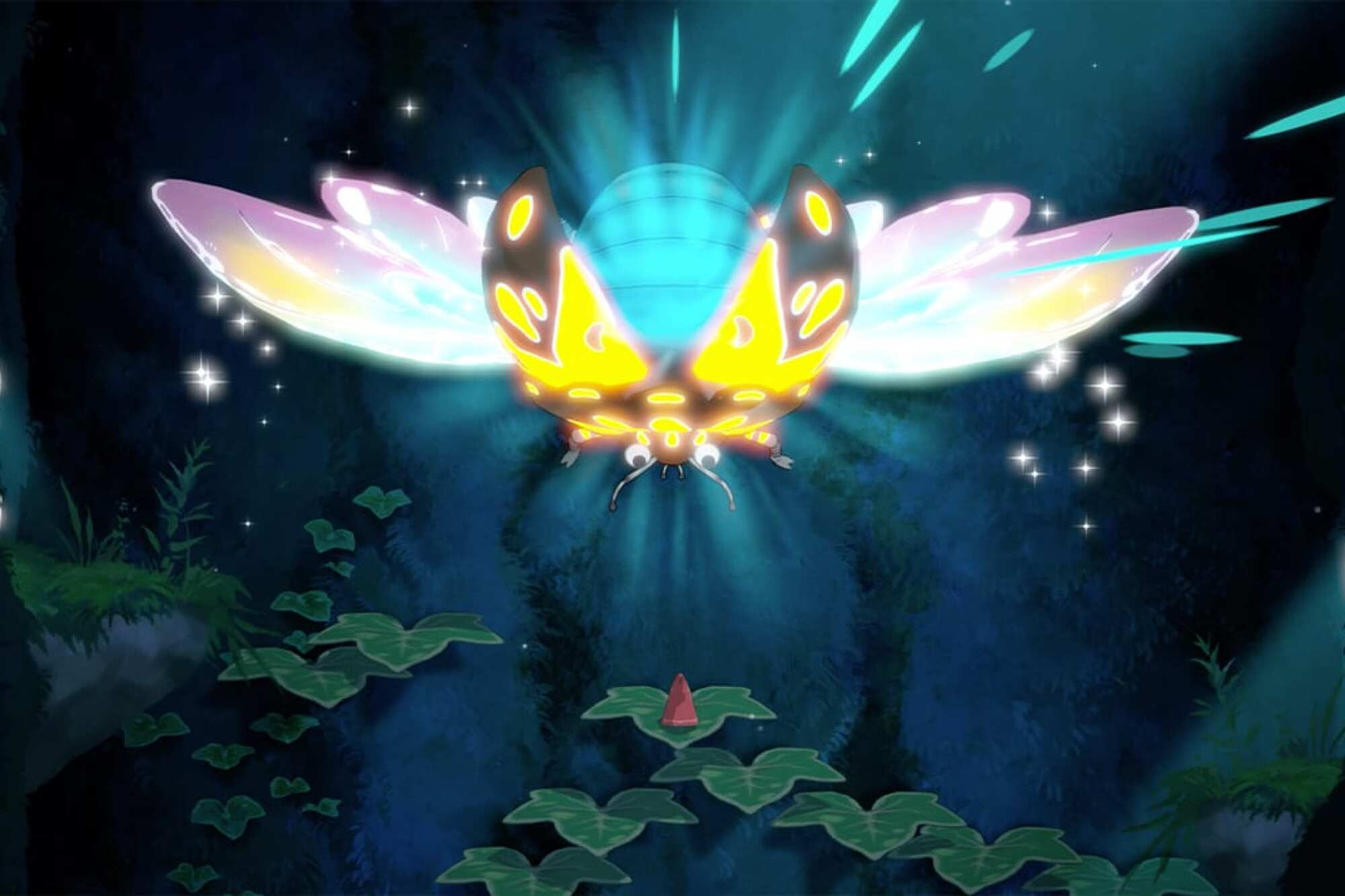 """A large insect flies headfirst toward a tiny one sitting on a leaf in animated video game """"Hoa."""""""
