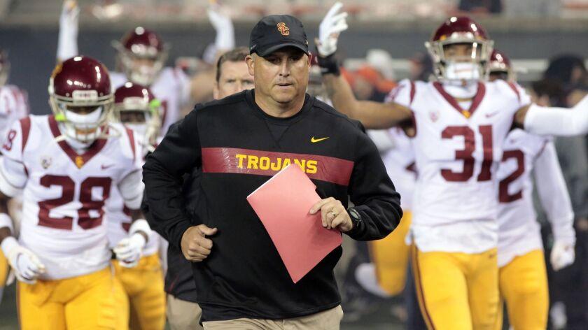 USC coach Clay Helton is under fire.
