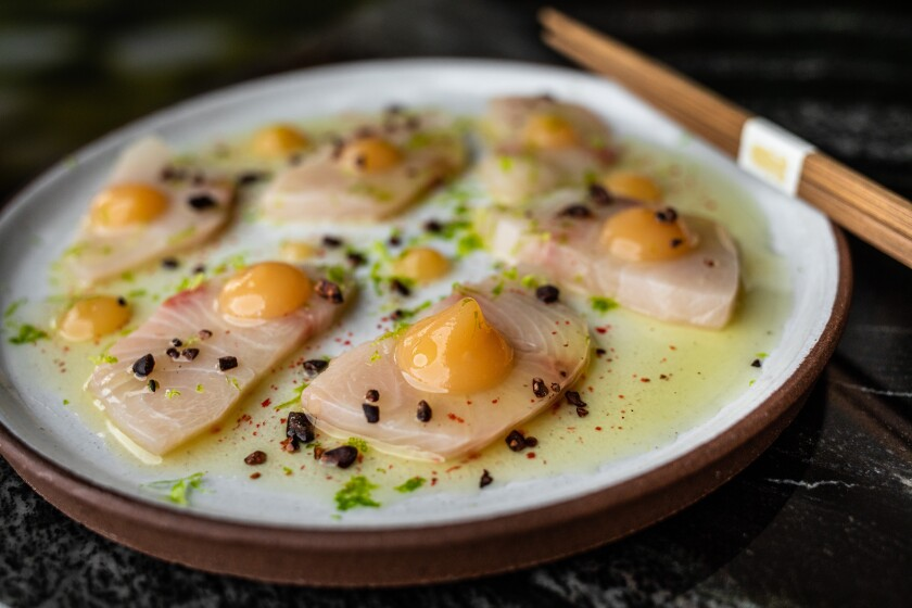 Hiramasa with pear yuzu, pink peppercorns and coca nibs is a delectable new addition to the menu at Animae.