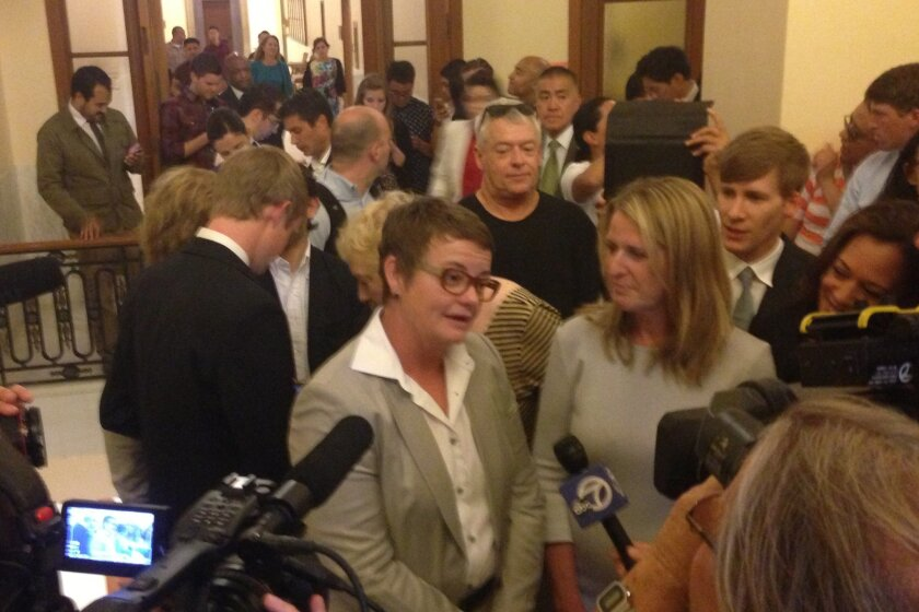 Kris Perry and Sandy Stier, the lead plaintiffs in the case against the ban on same-sex marriage in California, show up at San Francisco's City Hall to be married by state Attorney General Kamala Harris Friday, just after an appeals court lifted an order that had held up such marriages.