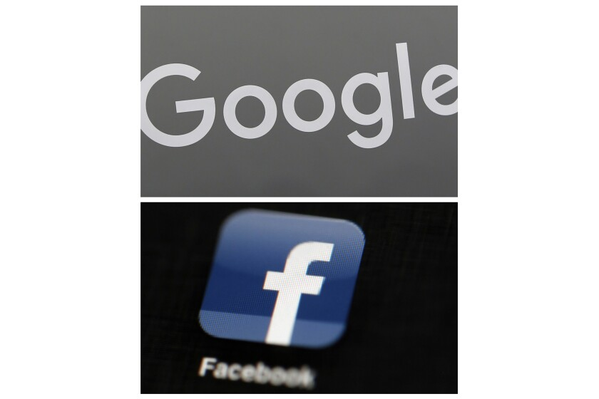 FILE - This combination of file photos shows a Google sign and the Facebook app. Global digital platforms The author of proposed Australian laws to make Facebook and Google pay for journalism said Thursday, Sept. 17, 2020, in Australia, his draft legislation will be altered to allay some of the digital giants' concerns, but remain fundamentally unchanged. (AP Photo/File)