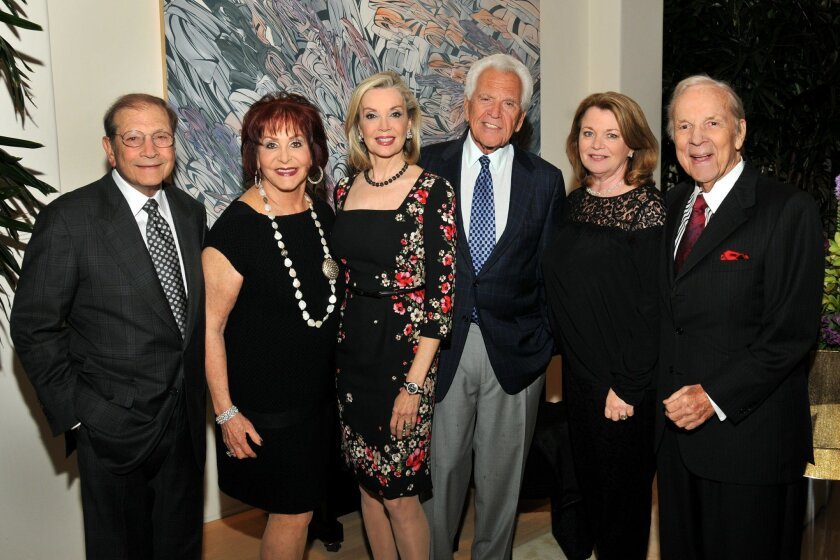 San Diego Opera's major donors and board members Matthew and Iris Strauss, Karen and Don Cohn, Debbie Turner and Conrad Prebys at the opening of company's 2014 season. Cohn, who is board chairman and president, issued a statement Thursday in answer to a rising tide of criticism about the company's