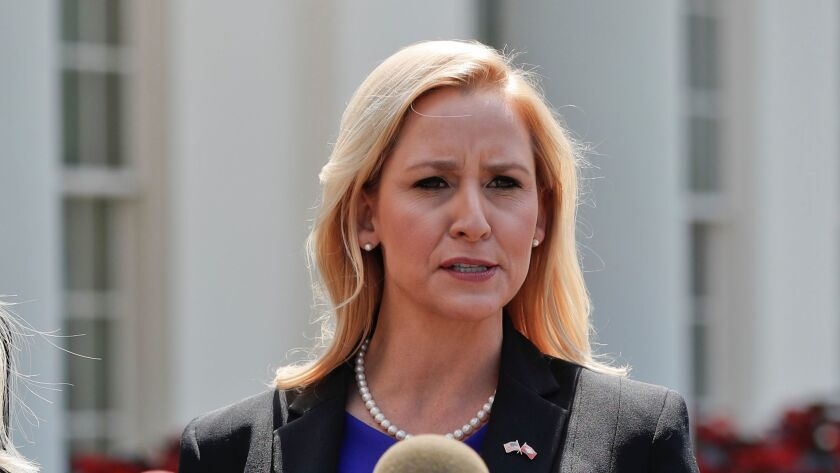 Arkansas Atty. Gen. Leslie Rutledge, shown at the White House in June, intends to appeal a judge's ruling that blocked new state laws restricting abortion.