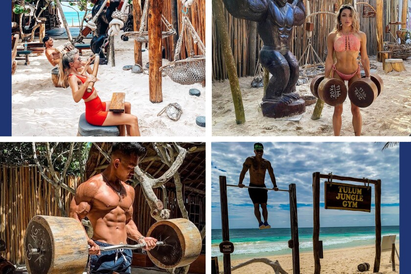Visitors working out at Tulum Jungle Gym in Tulum, Mexico