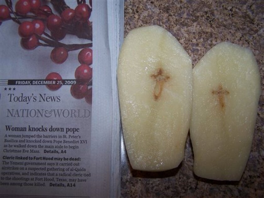 This photo provided by Det. Dennis Bort shows a potato with a cross design inside that he and his wife discovered on Dec. 25, 2009 in Brunswick, Ohio. Two Midwestern families are hoping for a little leftover holiday spirit _ and cash _ after they found what appear to be crosses inside potatoes. (AP Photo/Dennis Bort, HO)