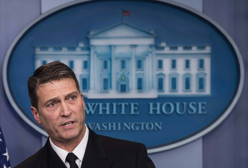 White House physician Rear Adm. Ronny Jackson speaks to the media on Jan. 16, 2018, at the White House. Jackson, who on April 26, withdrew his nomination to head the Department of Veterans Affairs, will not return as Trump's physician.