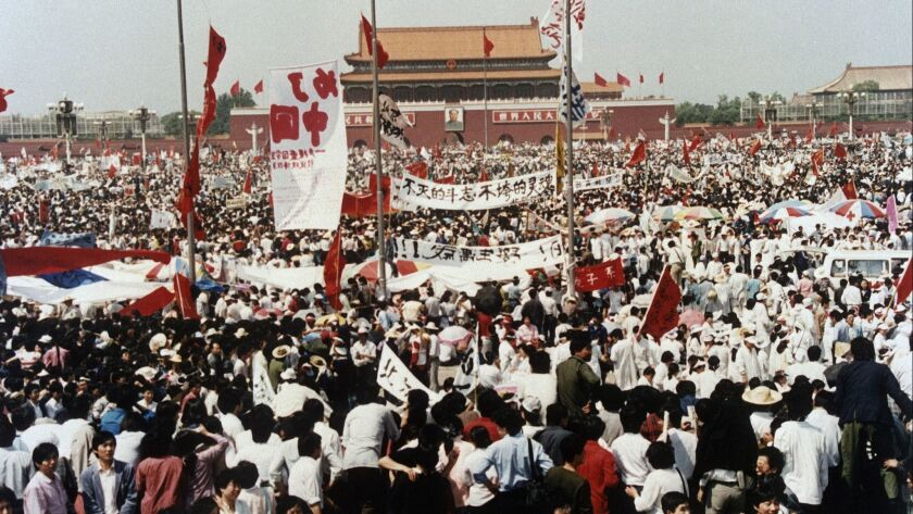 Pro-democracy protesters rally in Beijing's Tiananmen Square on May 17, 1989.