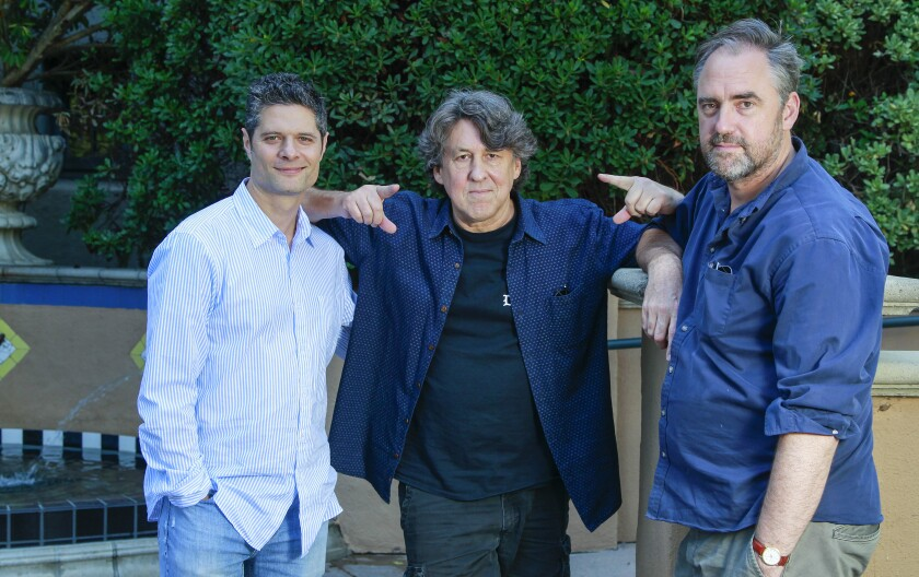 """I told the actors: Ask me anything, because I could give you more than you ever saw in the movie,"" said Cameron Crowe, flanked by ""Almost Famous"" composer Tom Kitt, left, and director Jeremy Herrin."