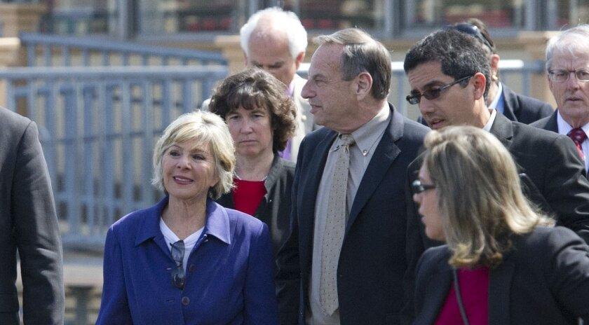 Sen. Barbara Boxer, left, in a U-T file photo before she asked San Diego Mayor Bob Filner (center) to resign.