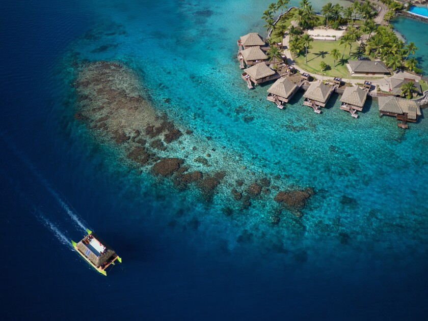 The InterContinental Tahiti Resort & Spa features over-water bungalows.