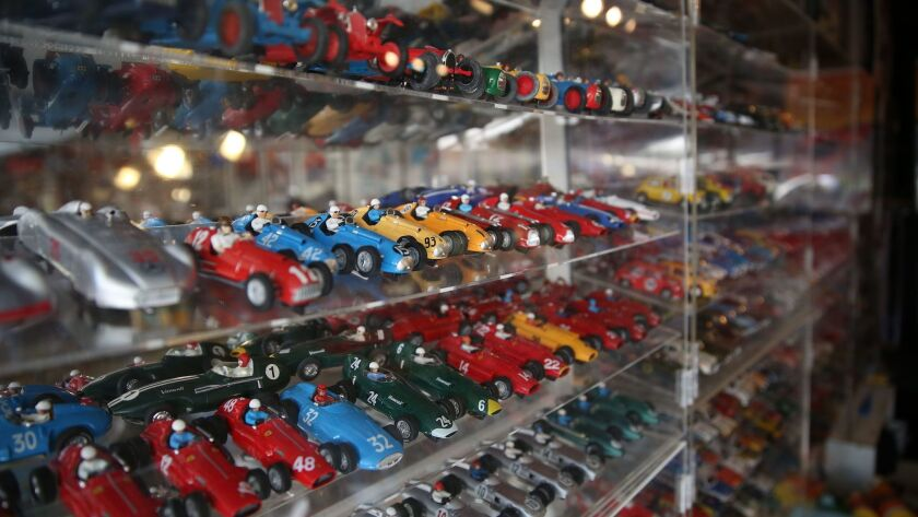 Display cases contain some of host Stephen Farr-Jones' 1,350 electric slot cars.