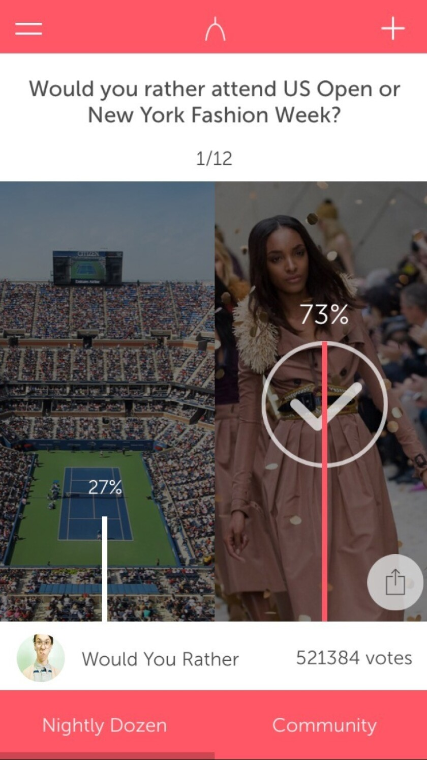 The Wishbone mobile app asks users to choose between two options on a variety of cultural questions.