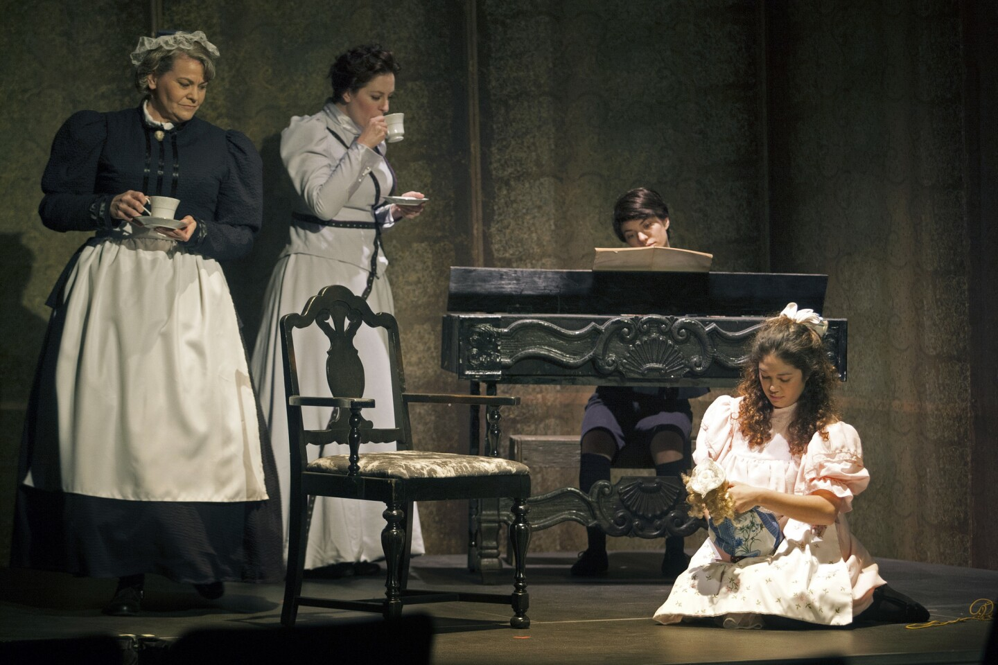 """Pacific Opera Project has gathered a strong cast including Jennifer Wallace, left, Rebecca Sjowall, Ariel Downs and Katy Tang for its production of """"The Turn of the Screw"""" at Inner-City Arts' Rosenthal Theater in Los Angeles."""
