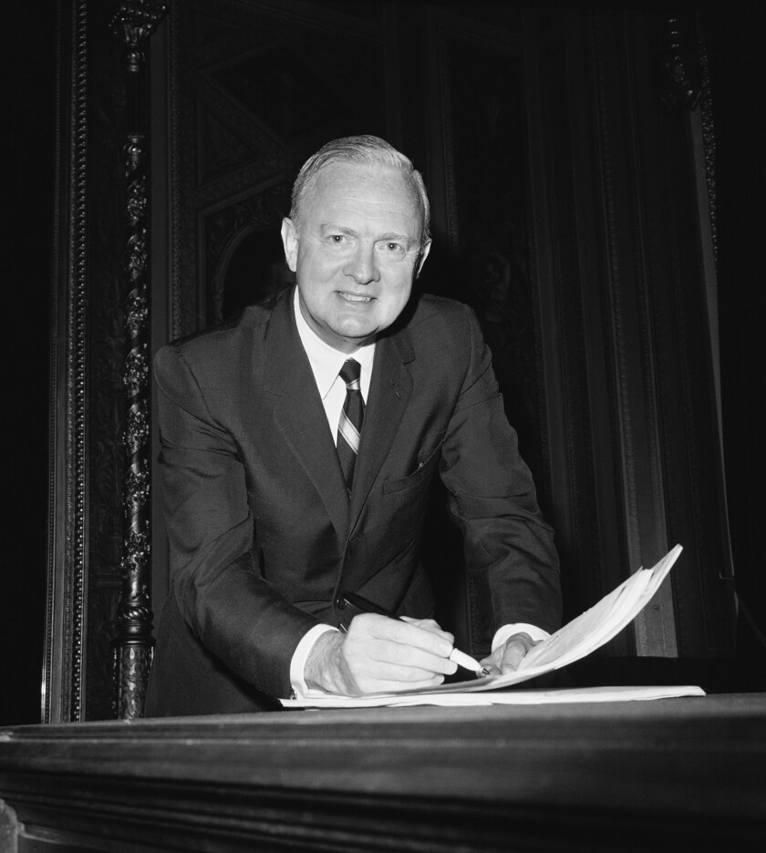 Sen. Harry F. Byrd Jr. (D-Va.) reviews notes in preparation for a speech against the civil rights bill, on the Senate floor on Capitol Hill in Washington in 1966. Byrd, a conservative Democrat turned independent who followed in his father's footsteps, has died.