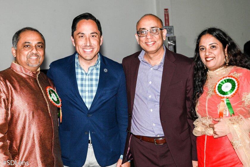 Vijay Navani, State Assemblyman Todd Gloria, Vivek Chhabra and Rekha Chhabra