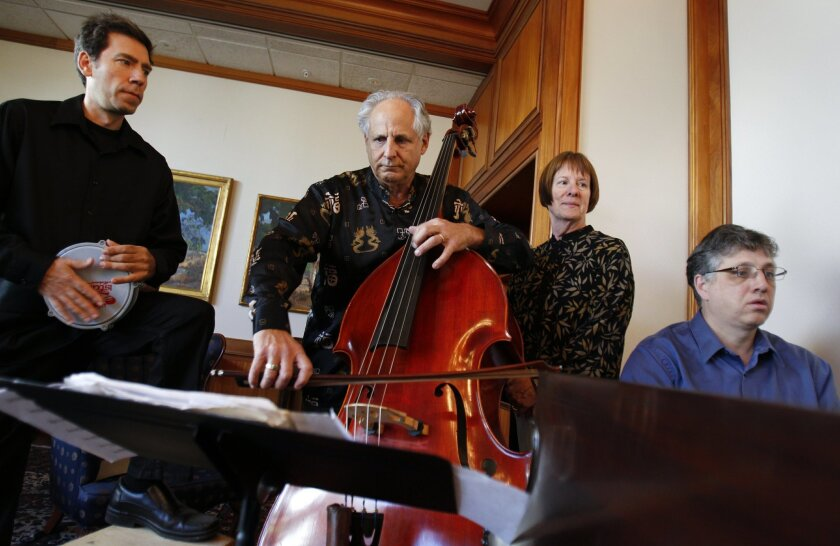 "From left, percussionist Mark Lamson, double bassist Barry Green, narrator Mary Tarbell-Green and pianist Paul Kenyon piano, will perform ""Anna's Way"" at ArtLab Studios in Normal Heights."
