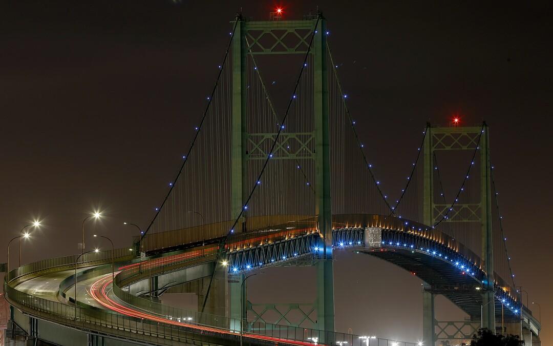 Truck traffic is light on the Vincent Thomas Bridge in San Pedro.