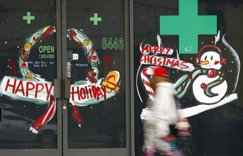 A medical marijuana shop is festively decorated in North Hollywood.