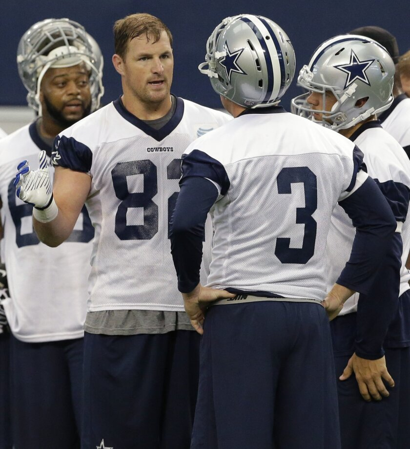 ADVANCE FOR WEEKEND EDITIONS, AUG. 9-10 - FILE - In this June 19, 2014, file photo shows Dallas Cowboys tight end Jason Witten (82) talking to backup quarterback Brandon Weeden (3) during an NFL football minicamp in Arlington, Texas. The nine-time Pro Bowl tight end's role as a leader was why anyone cared what he had to say then, and an increasingly young roster has the franchise leader in catches more aware than ever of the weight his words and actions carry. (AP Photo/LM Otero, File)