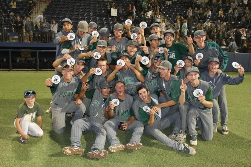 The Poway High baseball team after capturing its first San Diego Section Division I title since 2009.