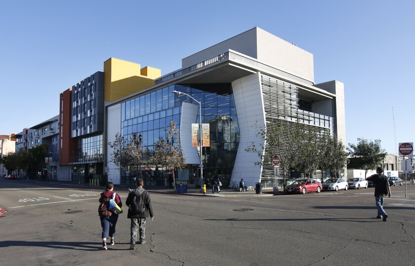 The Homeless Navigation Center, designed to be a one-stop shop for homeless services and resources has opened in a former indoor skydiving building in San Diego, shown in December.