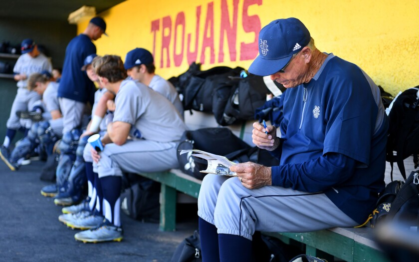 UC Irvine baseball coach Mike Gillespie prepares before a game against USC.