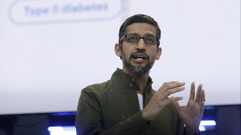 FILE- In this May 8, 2018, file photo, Google CEO Sundar Pichai speaks at the Google I/O conference