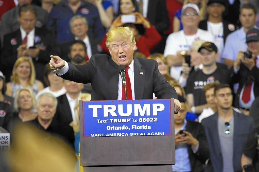 Donald Trump at a rally Friday in Orlando, Fla.