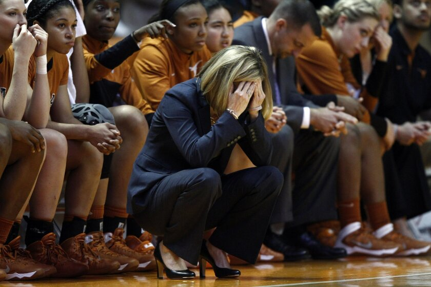 Texas head coach Karen Aston reacts in the second half of an NCAA college basketball game against Tennessee, Sunday, Dec. 8, 2013, in Knoxville, Tenn. Tennessee won 75-61. (AP Photo/Wade Payne)