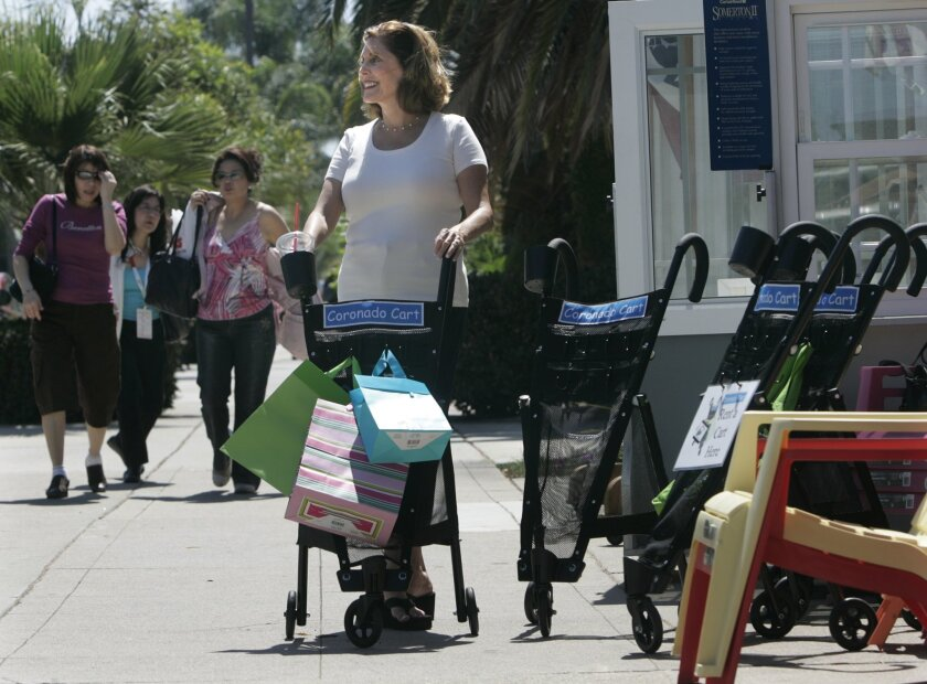 Janice Anderson used one of the carts she invented. Coronado shops are renting the carts. (Peggy Peattie / Union-Tribune)