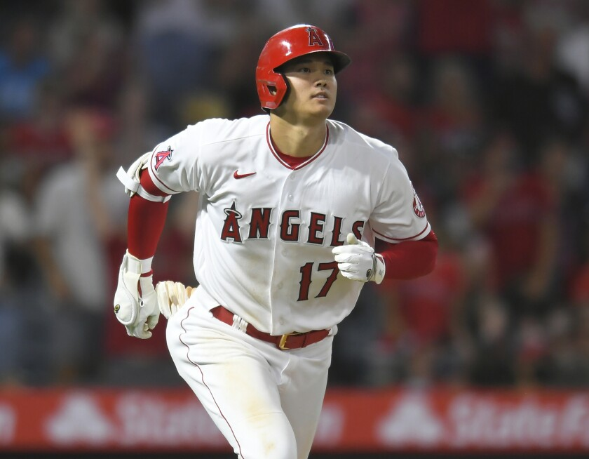 Los Angeles Angels designated hitter Shohei Ohtani runs to first.