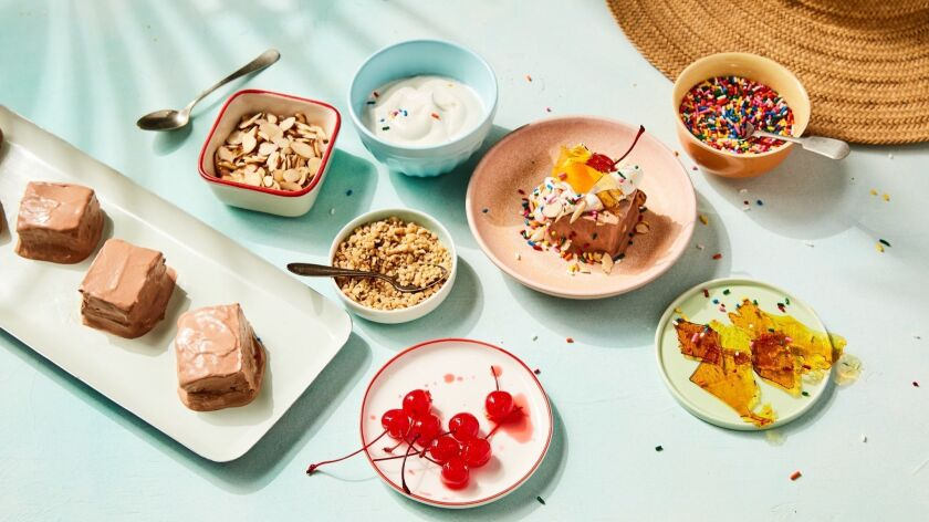 LOS ANGELES - MAY 9, 2019: Milk Chocolate Semifreddo with toppings cooked & styled by Genevieve Ko