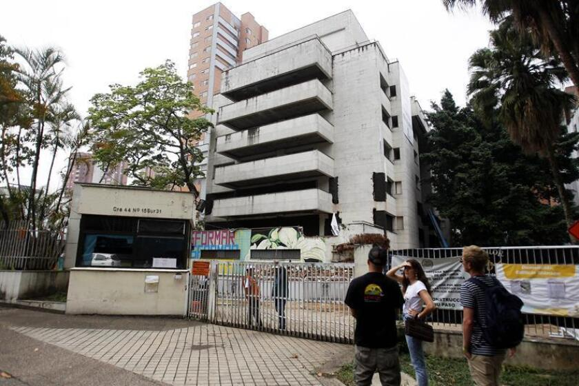 A photo taken on Feb. 20, 2019, of the facade of the Monaco Building, where late drug lord Pablo Escobar briefly lived in the 1980s. EPA-EFE/LUIS EDUARDO NORIEGA A.