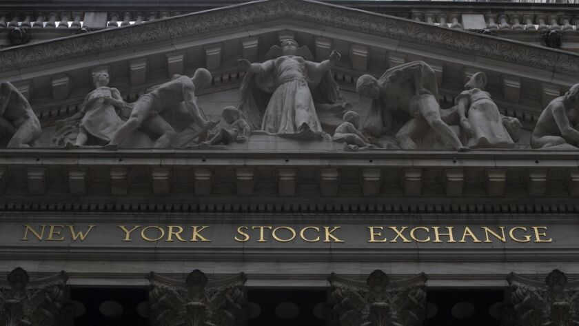 FILE- This Nov. 20, 2018, file photo shows the facade of the New York Stock Exchange. The U.S. stock