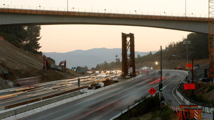 Commuters along the 405 in the Sepulveda Pass in 2012.