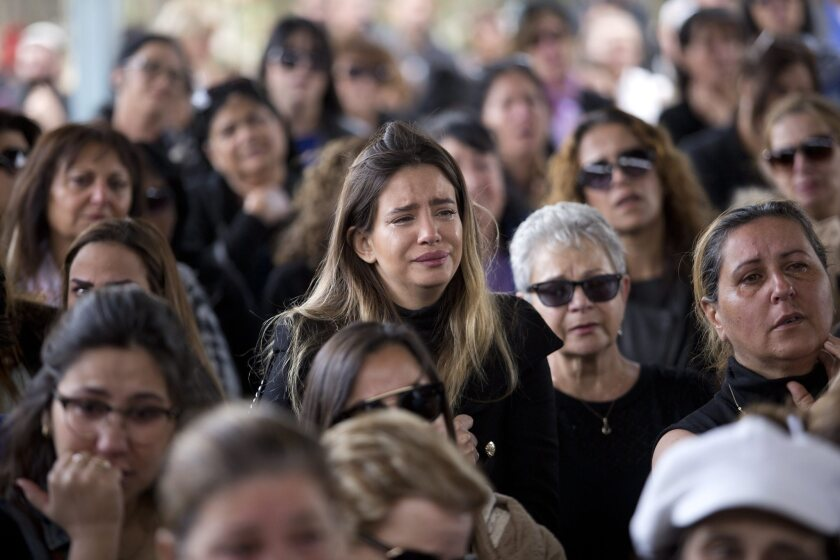 Friends and relatives of Simcha Damari mourn during her funeral in the southern city of Dimona, Israel, 21 March 2016. Damari was one of three Israelis killed in the recent suicide bomb attack in Istanbul.