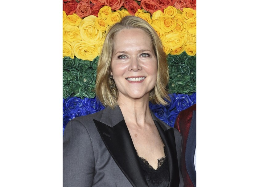 FILE - Rebecca Luker appears at the 73rd annual Tony Awards in New York on June 9, 2019. Luker, 59, a three-time Tony nominated actor, died Dec. 23, 2020. Some of Broadway's biggest stars are joining together to pay tribute to Luker and raise money to fight Lou Gehrig's disease. Kristin Chenoweth, Laura Benanti, Sierra Boggess, Michael Cerveris, Victoria Clark, Santino Fontana, Judy Kuhn, Howard McGillin, Norm Lewis, Kelli O'Hara and Sally Wilfert will perform in a show Tuesday night that will feature stories and songs from Luker's career. (Photo by Evan Agostini/Invision/AP, File)