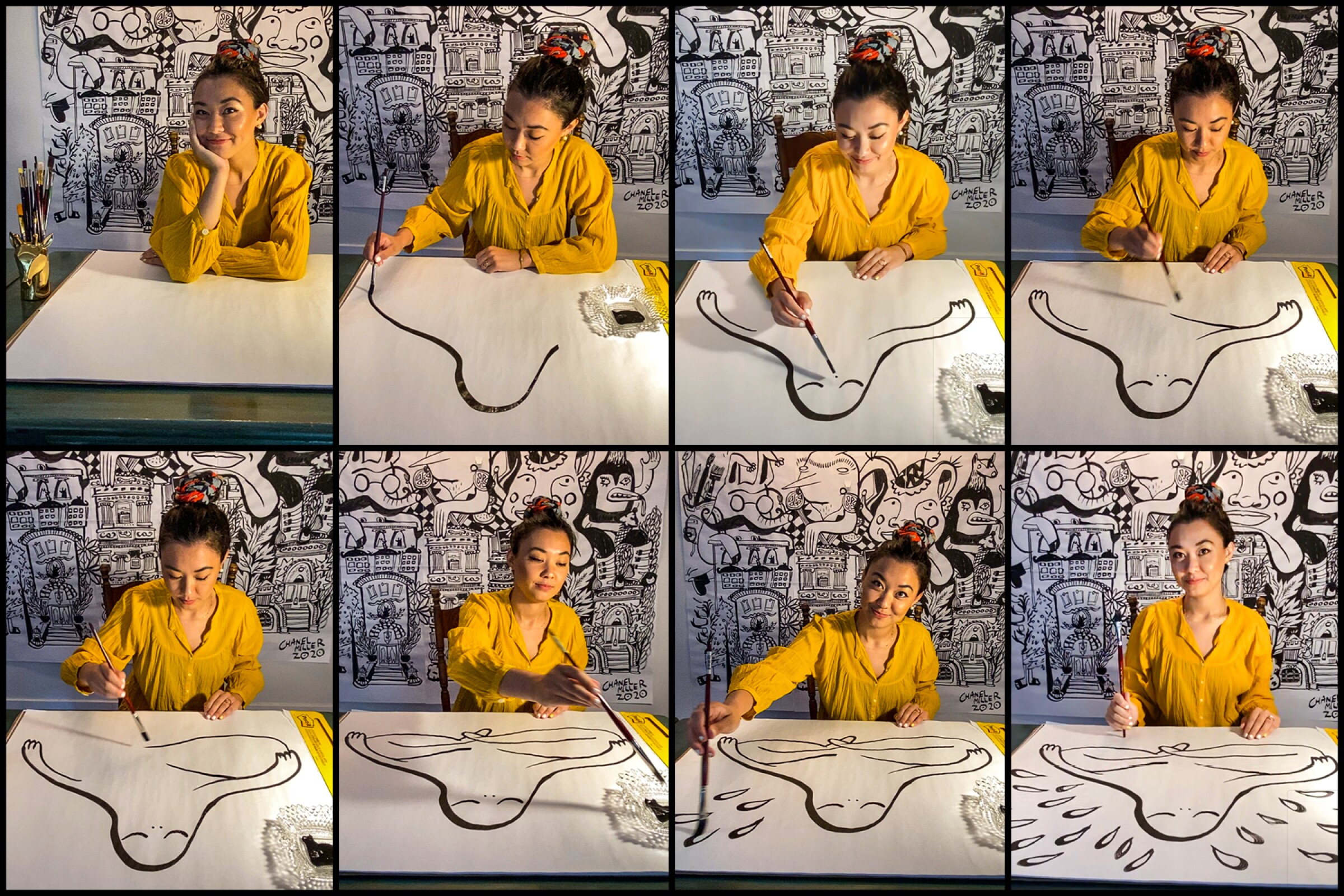 Chanel Miller demonstrates her art in a grid of screenshots taken via FaceTime on iPad.