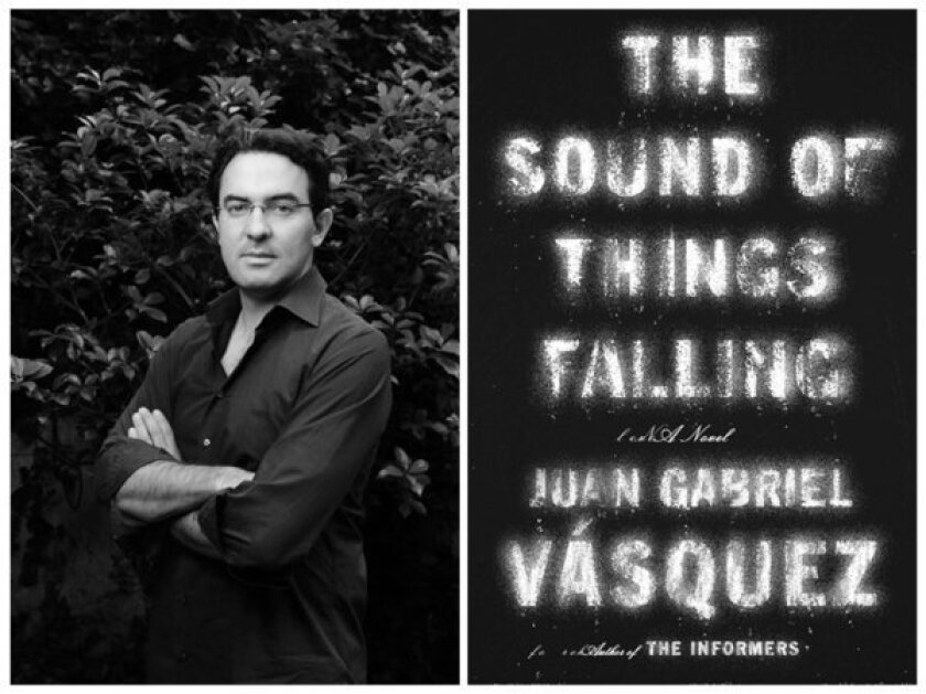 "Author Juan Gabriel Váxquez and the cover of his book, ""The Sound of Things Falling."""